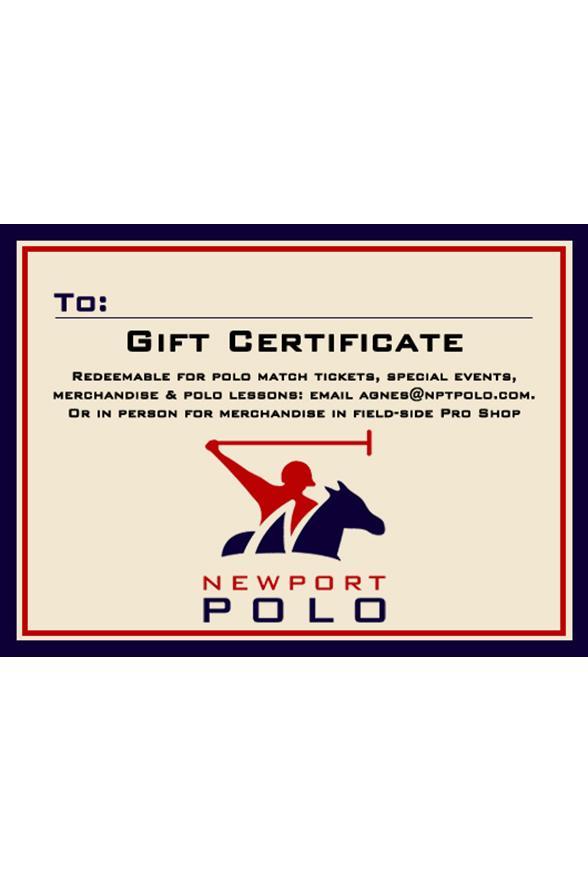 Gift Certificates - Newport International Polo - Polo Lessons - Polo