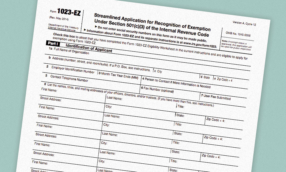 IRS Introduces New Short Application Form for 501(c)(3) Tax - tax exemption form