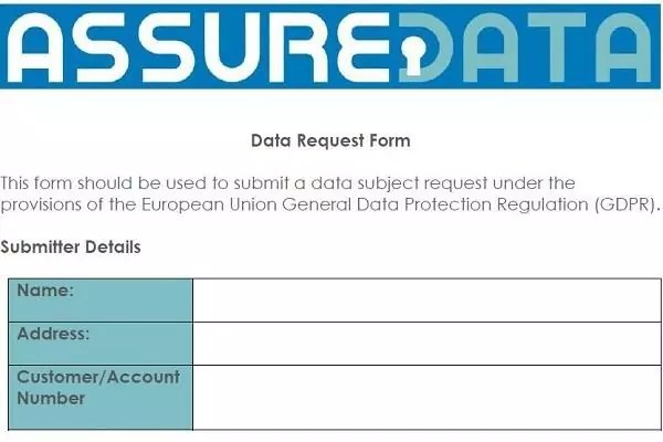 Subject Access Requests AssureData - access request form