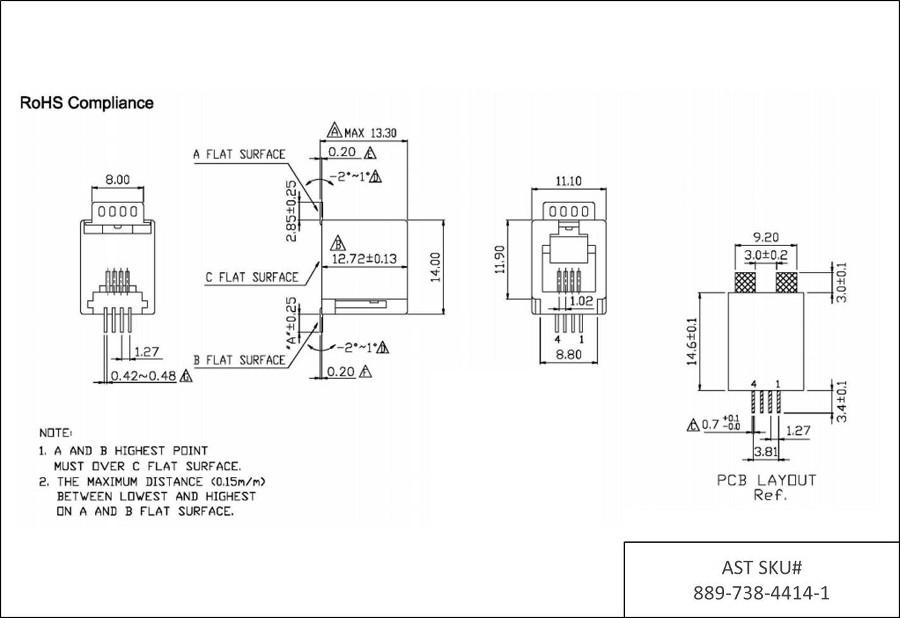 4P4C RJ9 RJ10 RJ22 Top Entry SMT 6u AST Labs Inc
