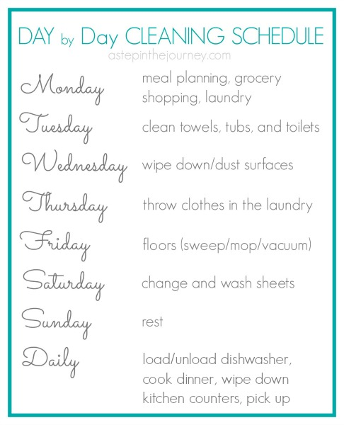 Day by Day Cleaning Schedule  Free Printable #SparklySavings