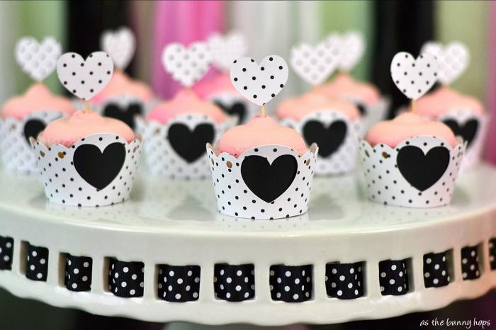 Pink Cupcakes in black and white wrappers