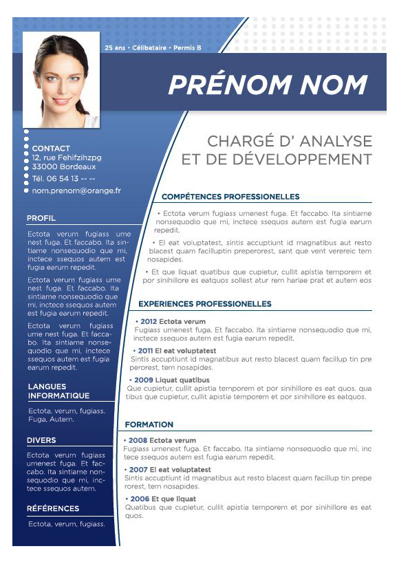 model de cv photographe gratuit