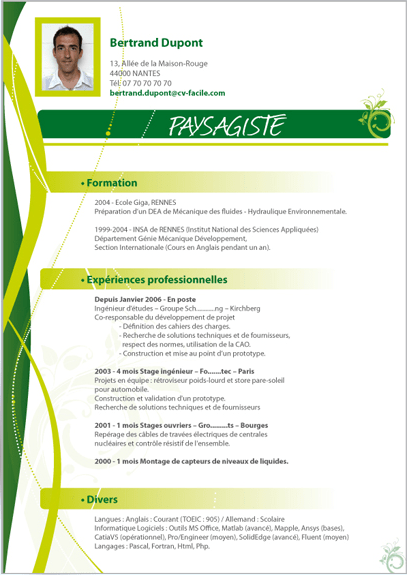 cv hse exemple