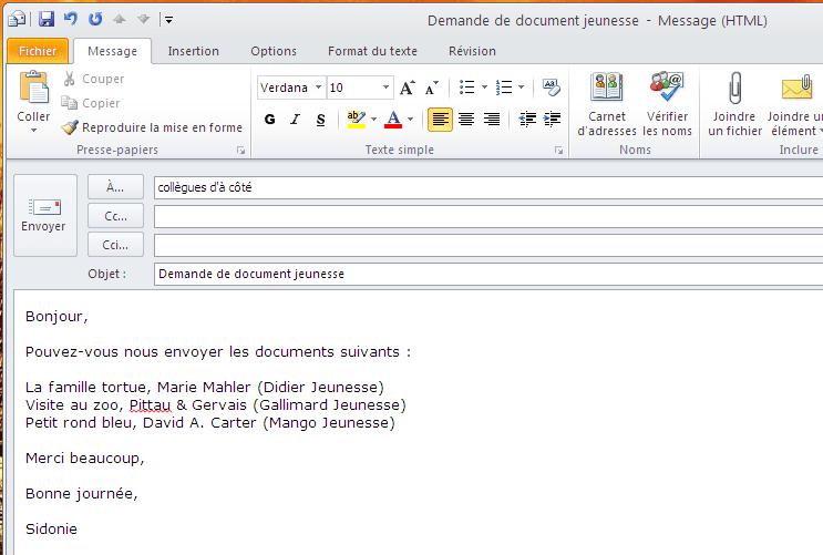 mail pour envoyer cv en anglais