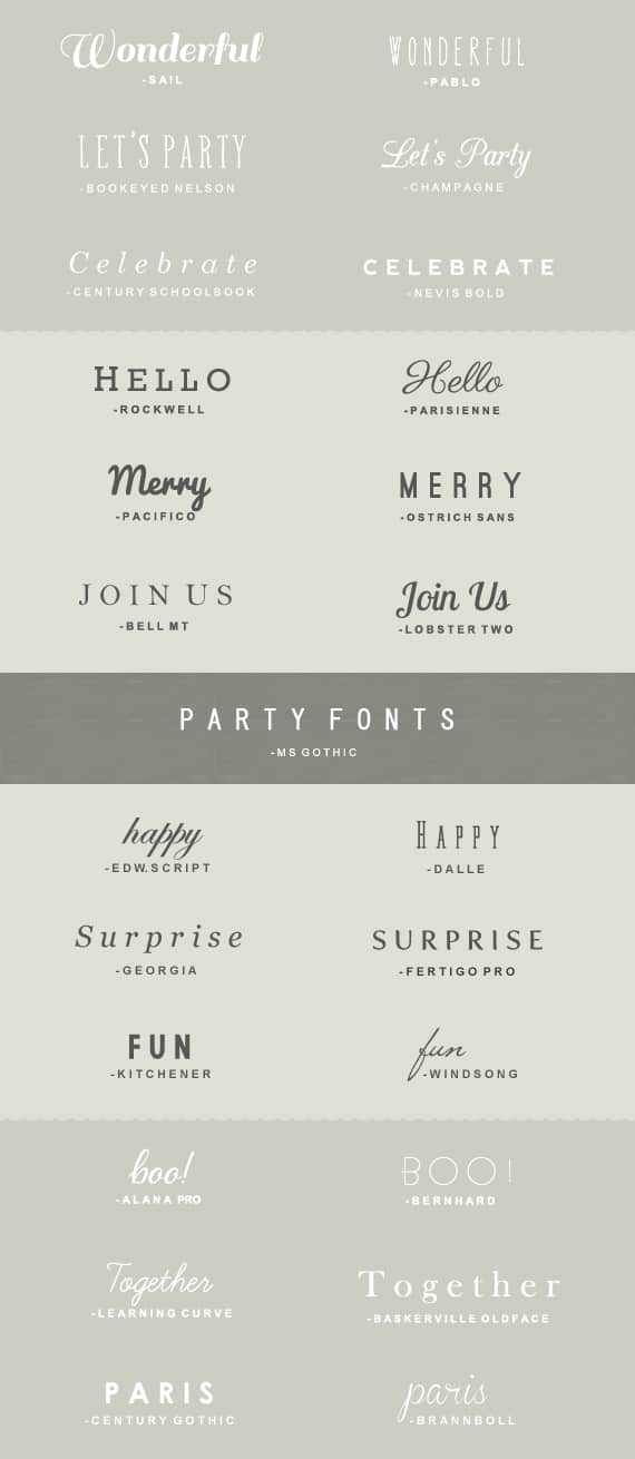 25 great fonts for parties \u2022 A Subtle Revelry - what is the best font to use for a resume