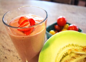 Tomato, Cucumber & Strawberry Rhubarb Smoothie