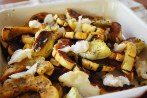 Roasted Squash & Artichokes with Roasted Garlic