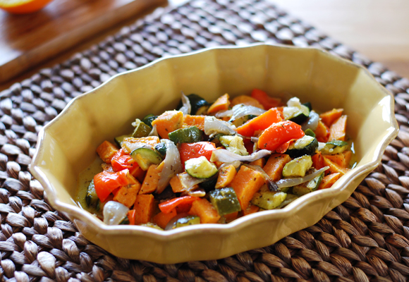 Roasted Veggie Salad with Orange Vanilla Vinaigrette