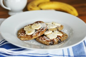 Banana Chocolate Chip Pancakes {adapted from Running To The Kitchen}