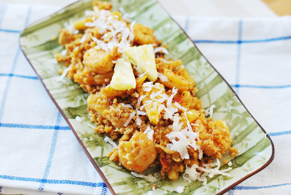 "Pineapple Coconut Shrimp ""Fried"" Quinoa"