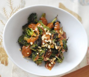 Roasted Broccoli with Peanut Sauce