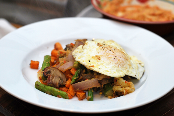 Asparagus Mushroom and Sweet Potato Hash