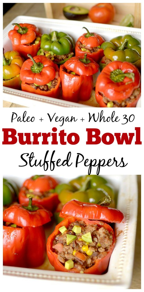 These burrito bowl stuffed peppers are so easy to make and are made with real and healthy ingredients. They are a complete meal filled with nutritious veggies, healthy fats and lean protein. Anyone who loves chipotle's burrito bowls and Mexican food will absolutely love this hearty lower carb dinner that can also be paleo, vegan and whole 30 friendly!