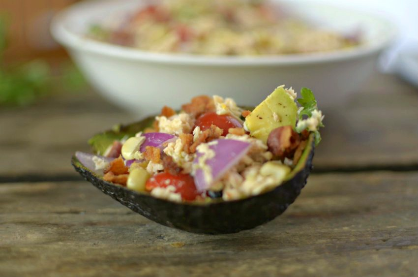 This Salmon Bacon Avocado Salad is a quick lunch or dinner that can be thrown together in less than 10 minutes!