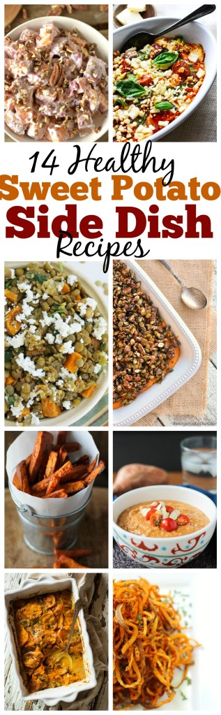 Do you love sweet potatoes? Here are 14 Healthy Sweet Potato Side Dish recipes for you and your family to enjoy for the upcoming Holidays!