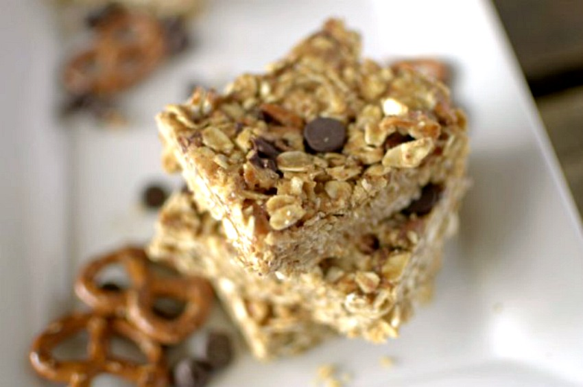 Healthy No Bake Peanut Butter Pretzel Granola Bars made with only 5 ...