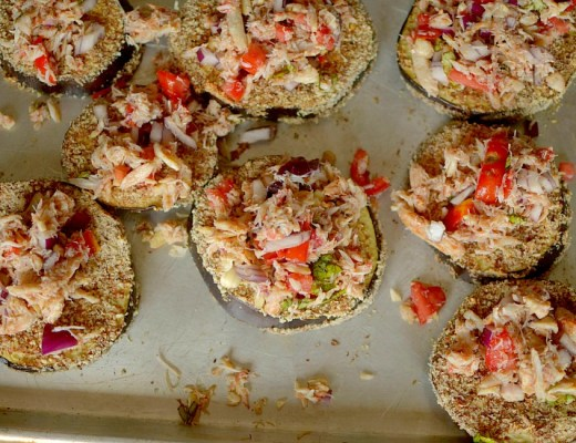 Need a crowd-pleasing appetizer? Make these Crab Bruschetta Eggplant Toasts! Full of flavor and paleo + whole 30 friendly!