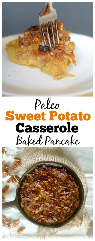 Looking for a sweet, filling and healthy breakfast? Try this Paleo Caramel Sweet Potato Casserole Baked Pancake! It's made with only 8 ingredients!