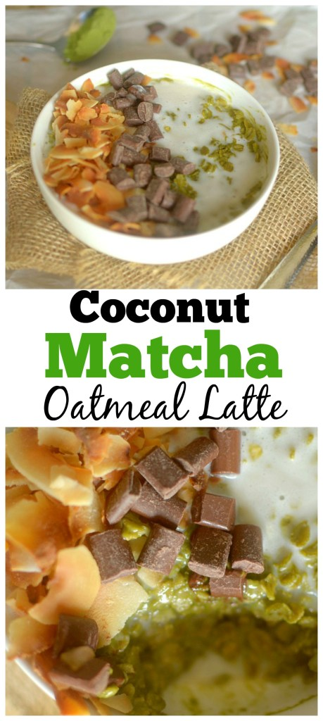 Love all things matcha? Try this Coconut Matcha Oatmeal Latte! You get your caffeine and hearty breakfast all in one bowl! Vegan + Gluten-free!