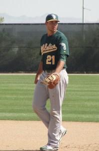 Prospect Matt Olson casts an imposing presence at first base
