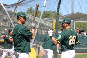 Eric Sogard giving Andrew Lambo a few pointers.