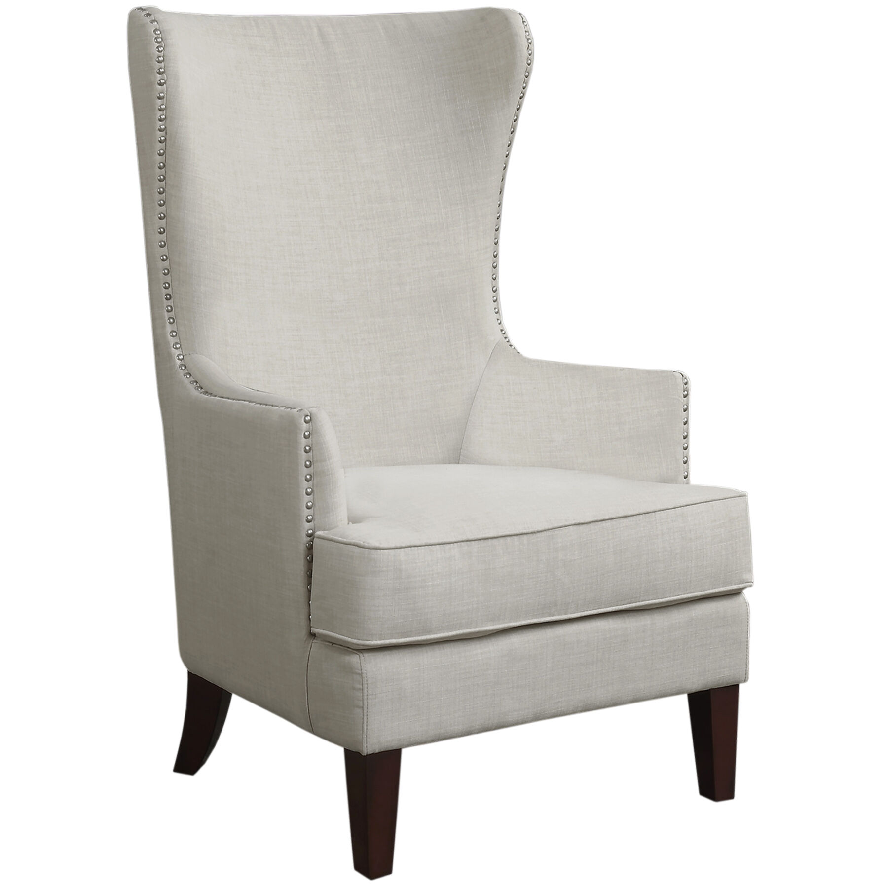 Kori Upholstered High Back Taupe Accent Chair At Home - Taupe High Back Sofa
