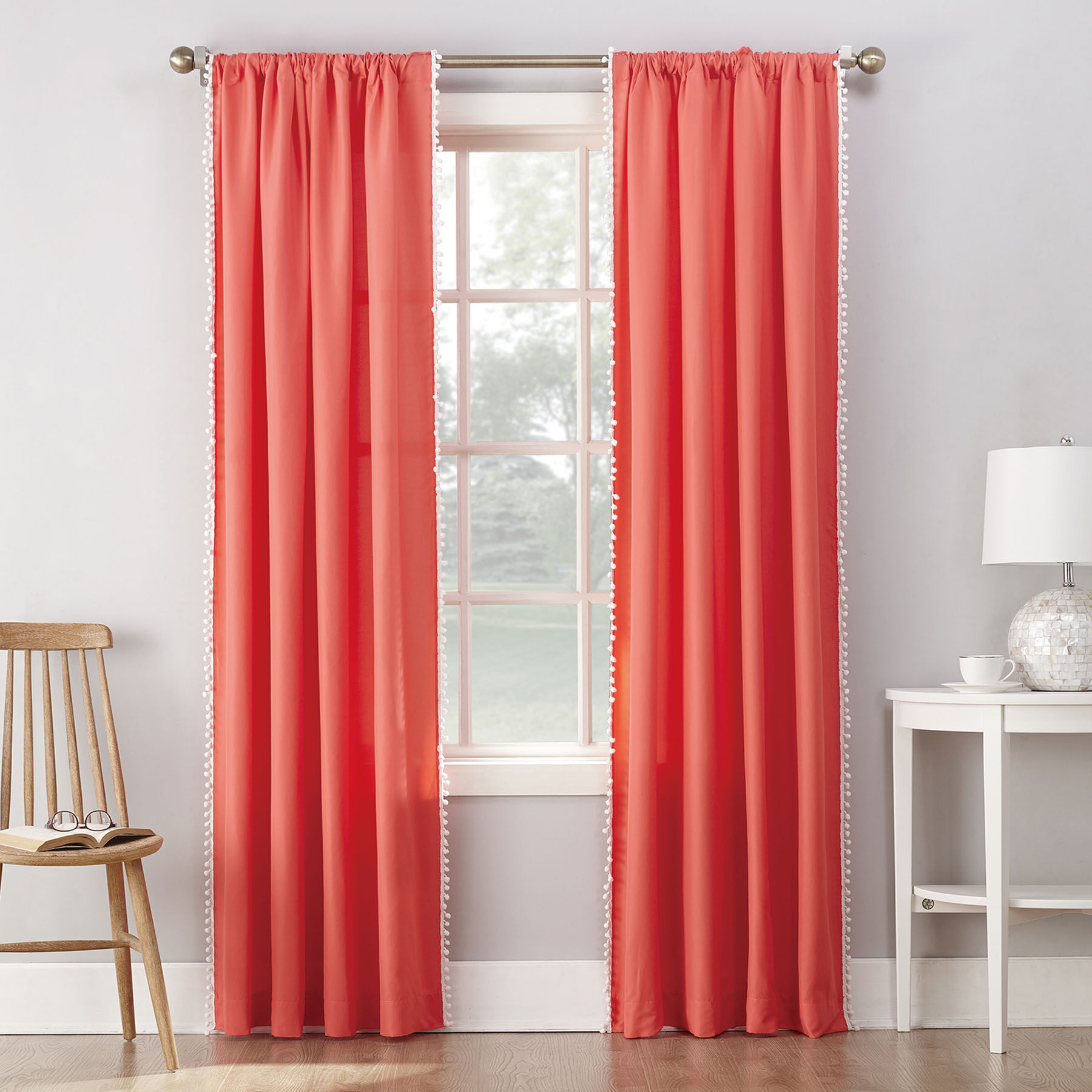 Orange Curtain Panels Coral Orange Rod Panel Curtains At Home
