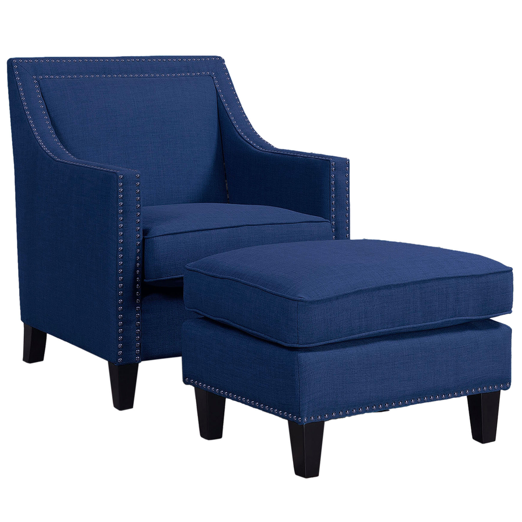 Dahlia 3 Seat Leather Sofa Erica Studded Chair Dark Blue At Home