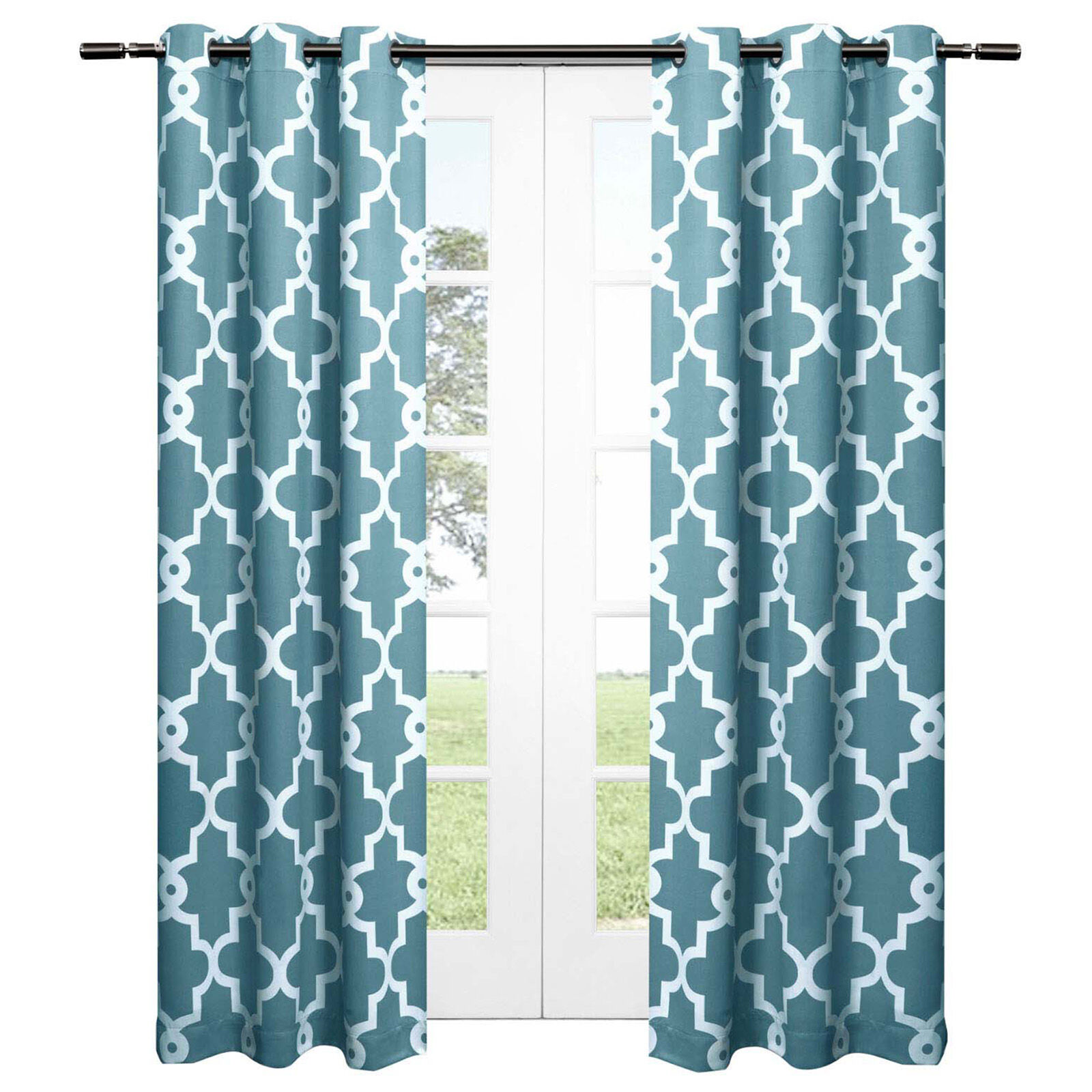 Black And White Chevron Blackout Curtains Teal Ironwork Blackout Curtain 84 In At Home