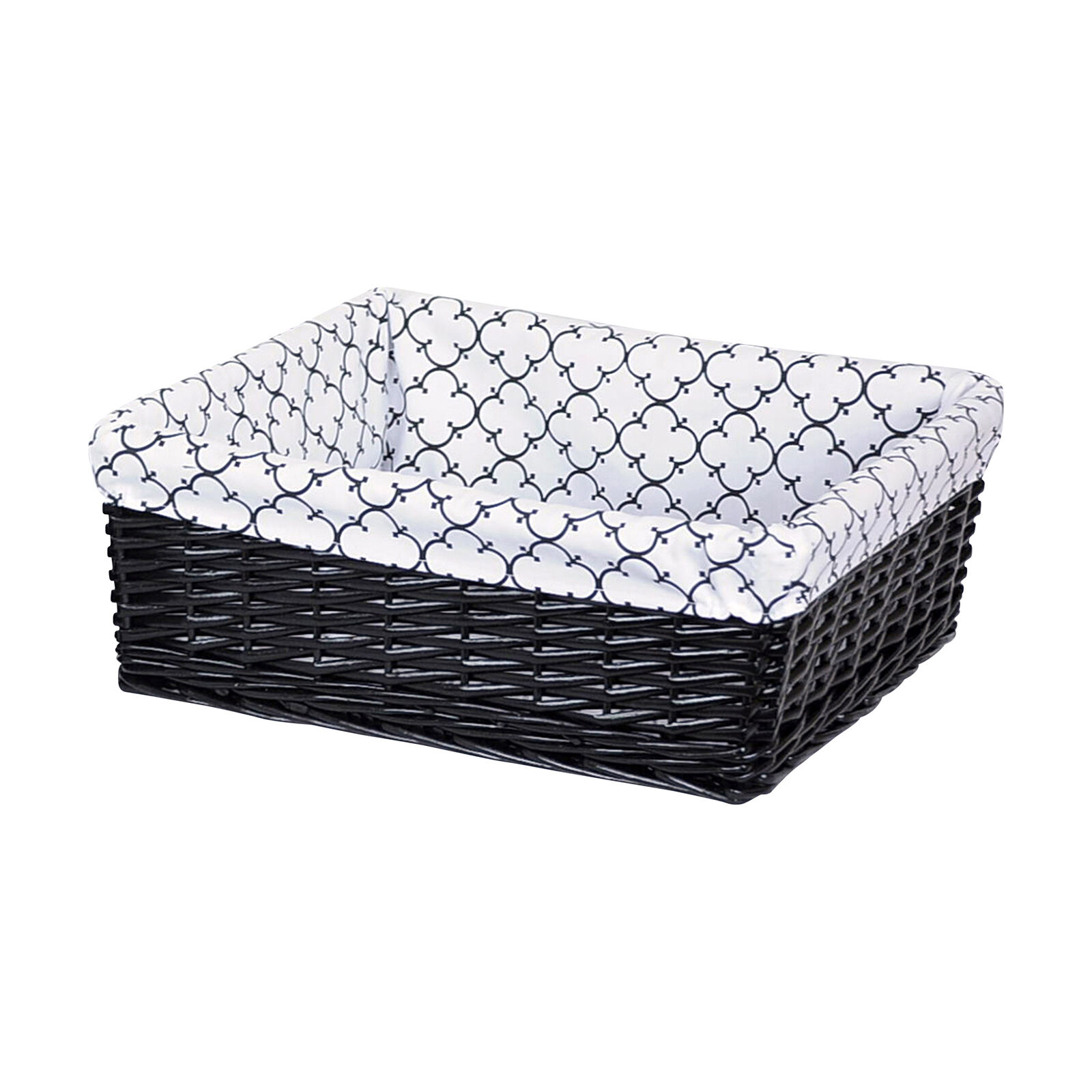 White Hamper With Liner Small Rectangular Black Willow Basket With Black And White