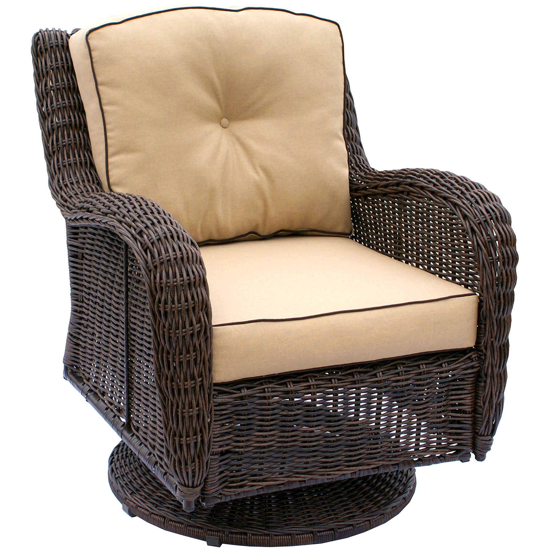 Grand Isle Brown Wicker Swivel Chair At Home - Garden Furniture Clearance Ware
