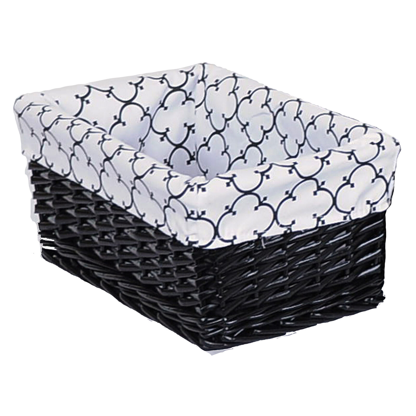 White Hamper With Liner Large Rectangular Black Willow Basket With Black And White