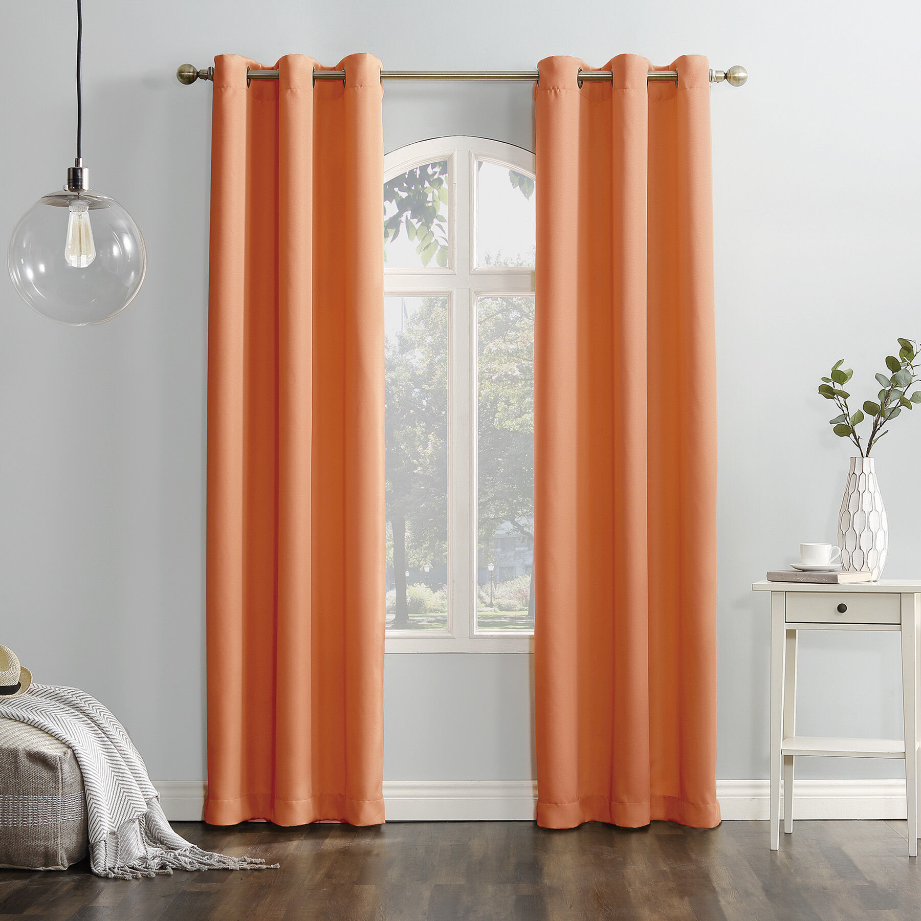 Orange Curtain Panels Cantaloupe Tegan Window Curtain Panel 84