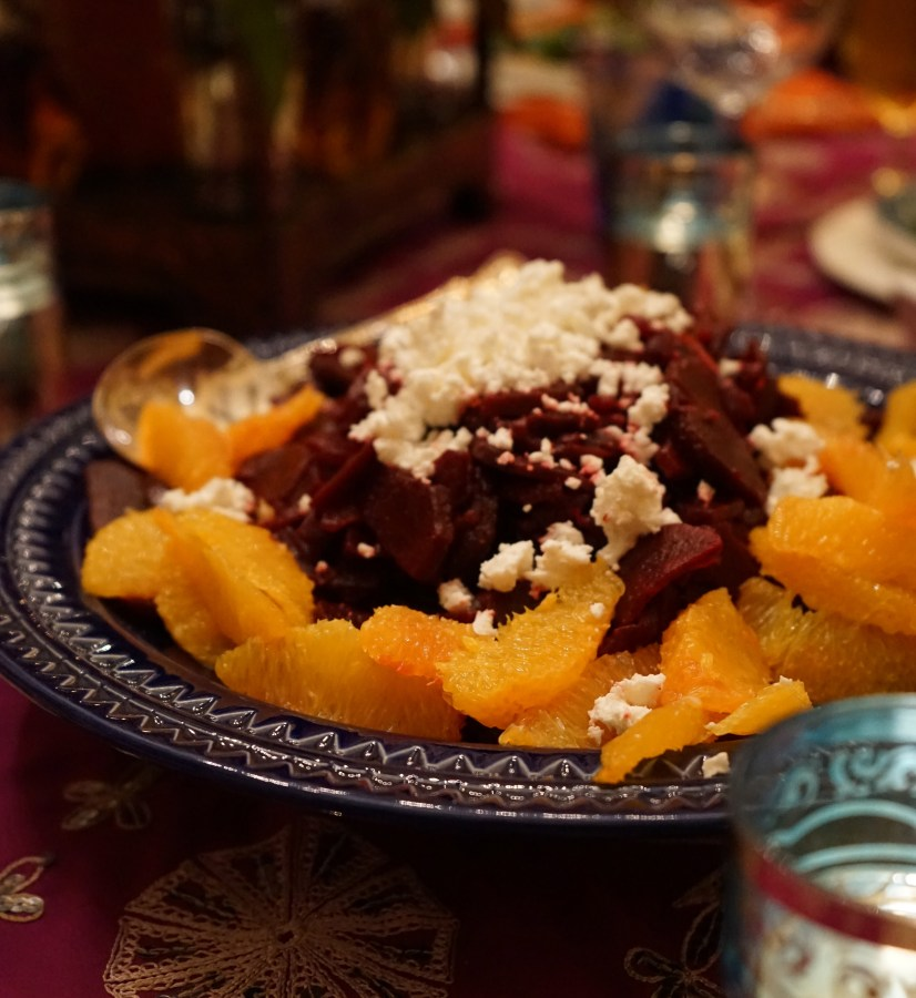 This salad is a feast for the eyes as well as the palate. The natural sweetness of the beets is complimented by the saltiness of the feta and the slight acidic note of the orange segments.