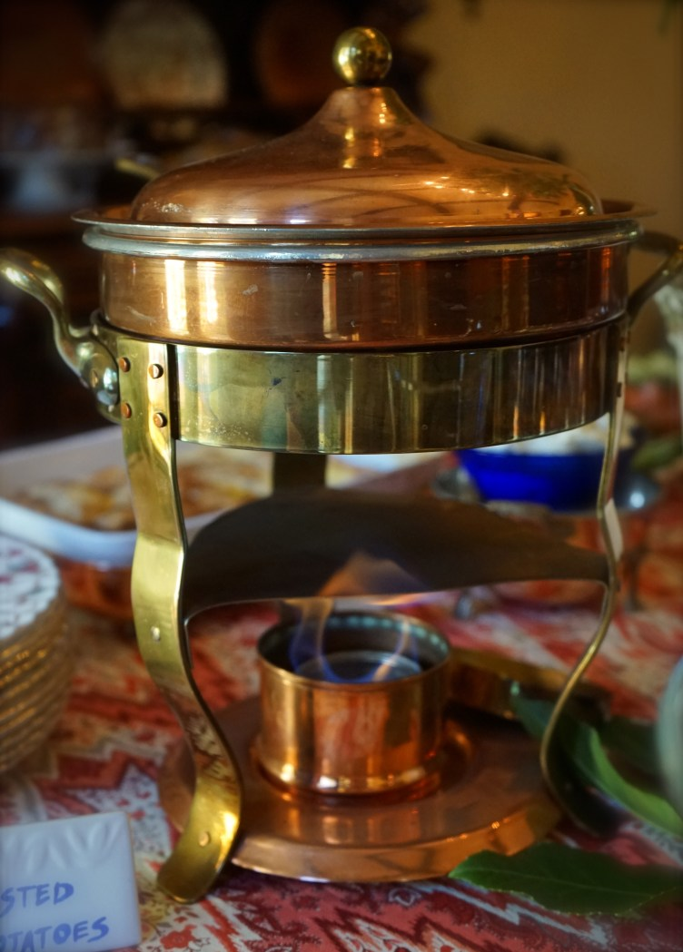 Copper chafing dish.