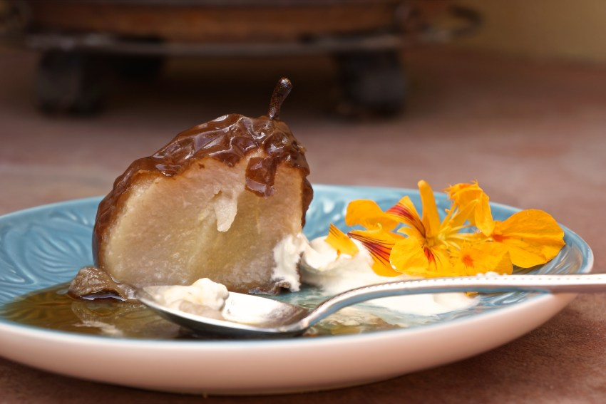 Crinkled Pears with Whipped Cream.