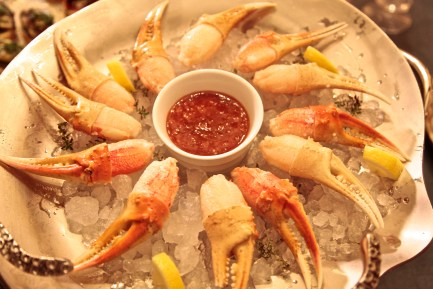 Beautiful wild Crab Claws: Served on a bed of ice and a red dipping sauce, they were a hit!