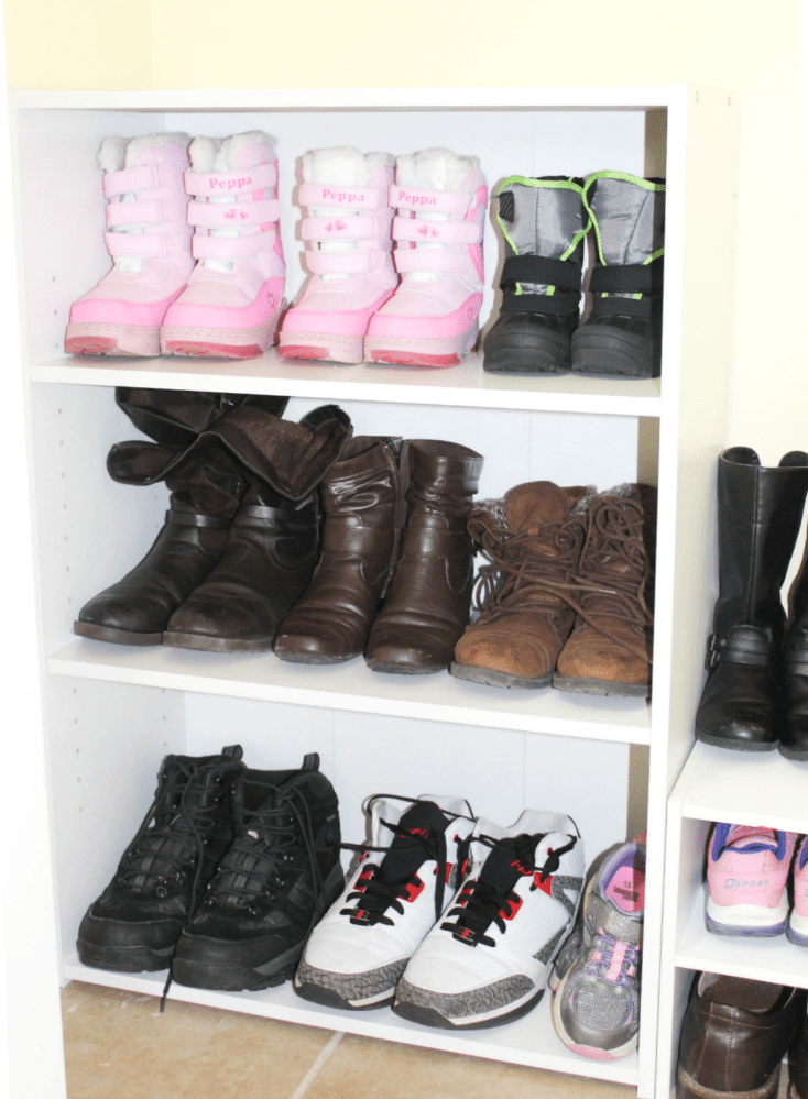 Entryway organization - organizing shoes