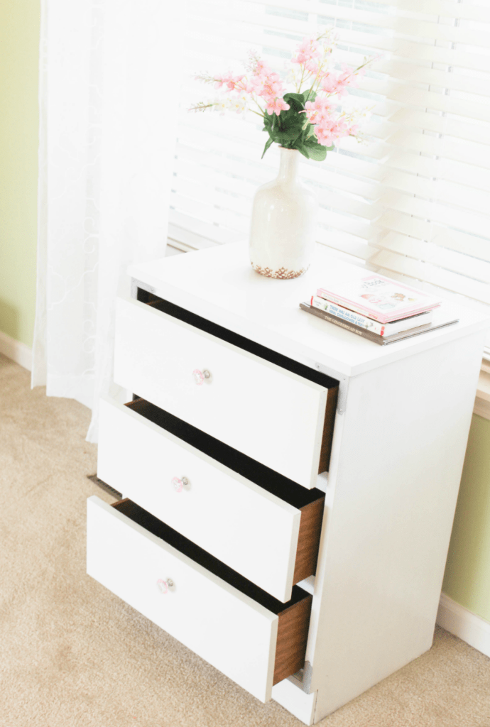 Dresser Makeover - White Painted - Girls Dresser - At Home With Zan