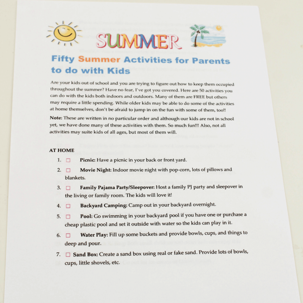 Free Printable List of Summer Activities for Kids