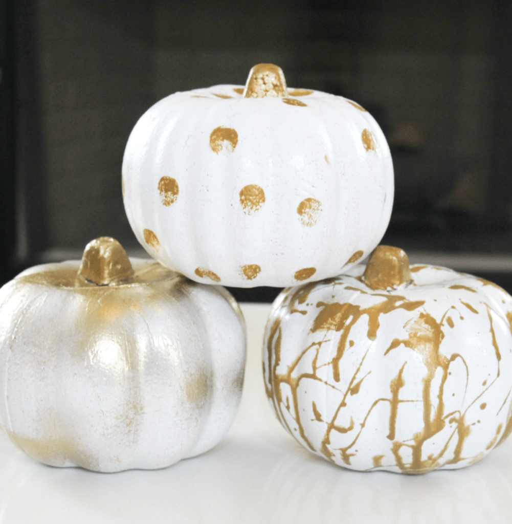 Painting Pumpkins - Gold and White Painted Pumkpkins - At Home With Zan-
