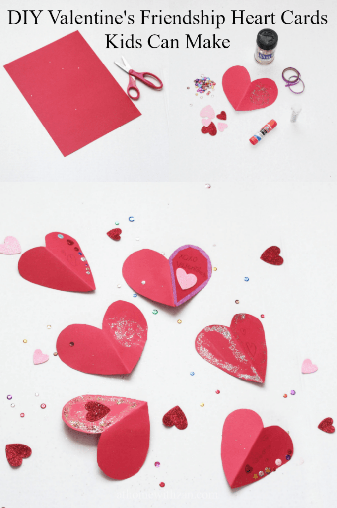 DIY Valentine's Friendship Heart Cards - Kids Can Make - At Home With Zan
