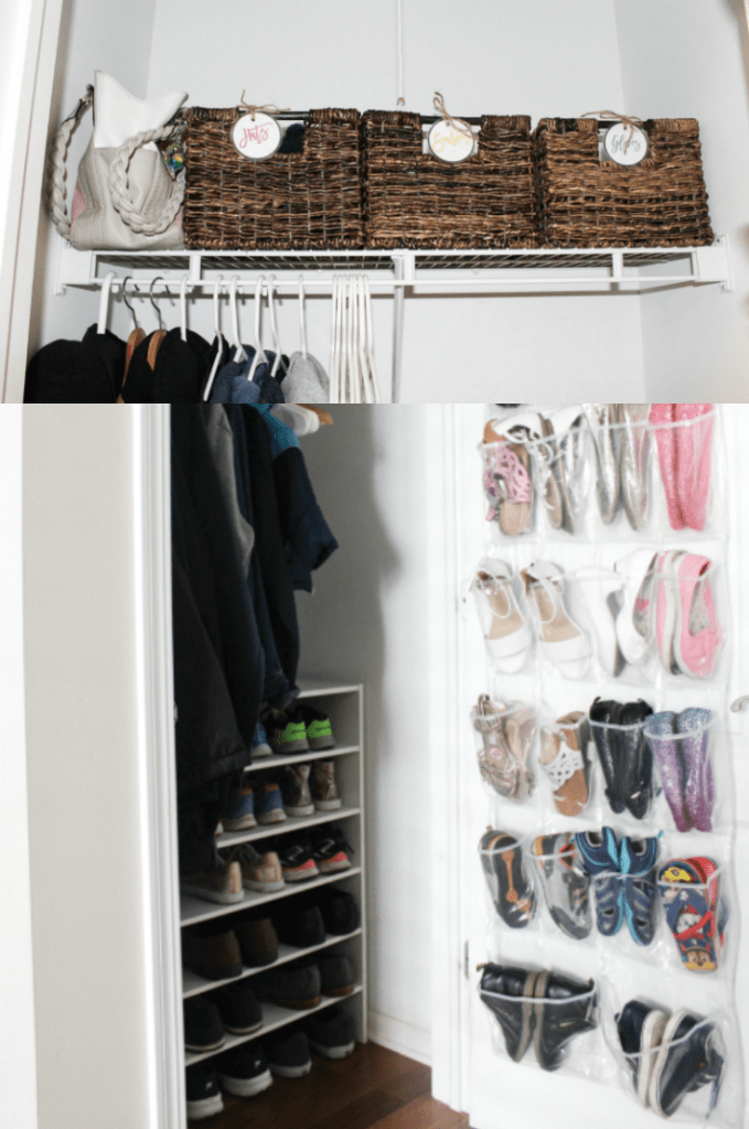 Small Entryway Closet Organization - Shoe Closet Organization - Hallway Closet - Pinterest -At Home With Zan-