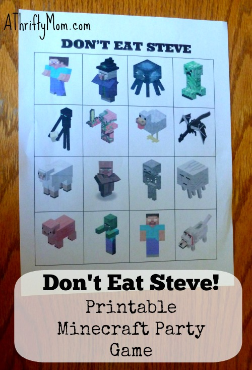 Don\u0027t Eat Steve! FREE Printable Minecraft Party Game #Minecraft