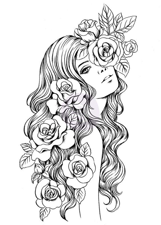 Adult Coloring Pages Punk Girl 3 u2026 Pinteresu2026 - best of valentines day coloring pages with dogs