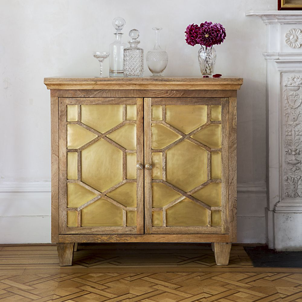 Art Deco Style & Light Amber Art Deco Sideboard With Brass Inlay