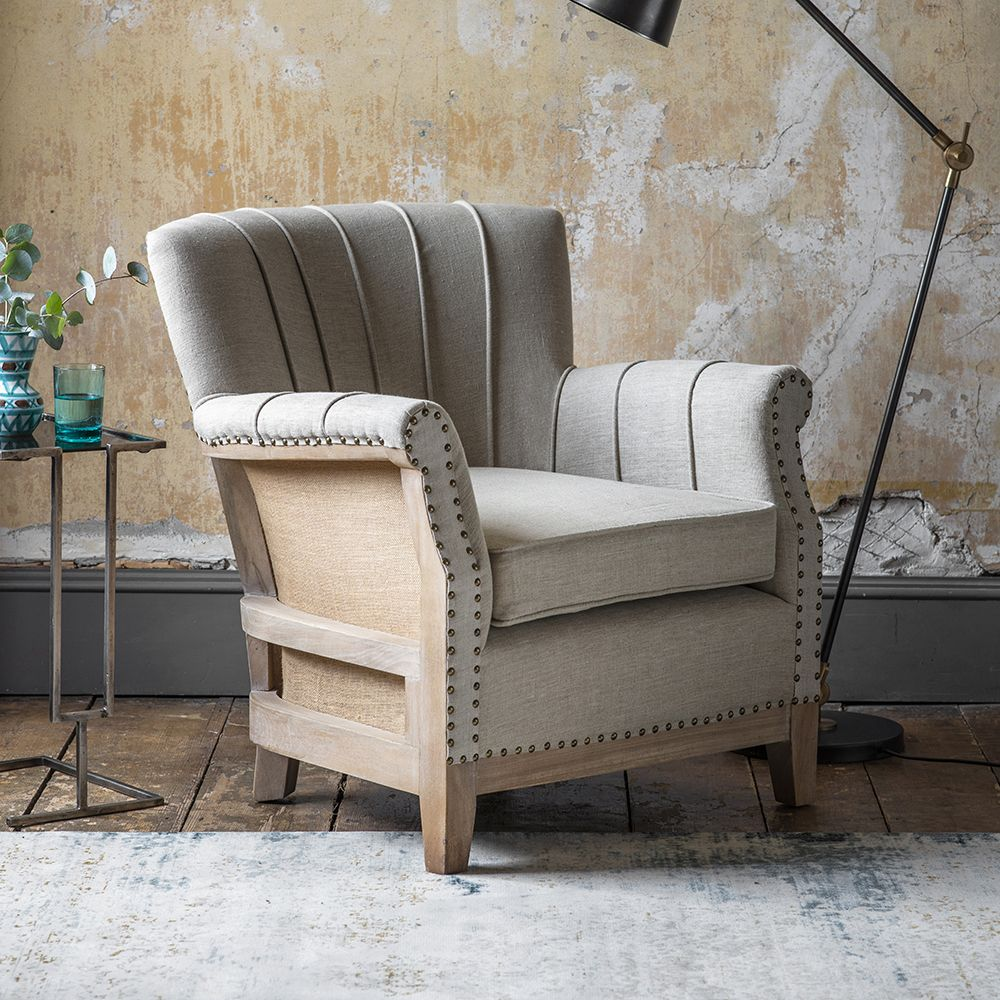 Art Deco Style & Light Fitzgerald Armchair In Linen