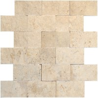 White Split Face Travertine Mosaic Tiles 2x4 - Natural ...