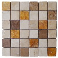 Emperador White Noce Mix Tumbled Marble Travertine Mosaic ...